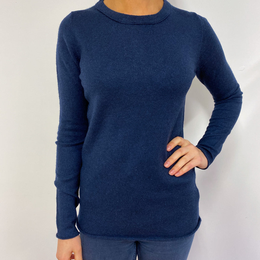 Classic Navy Blue Crew Neck Jumper Small
