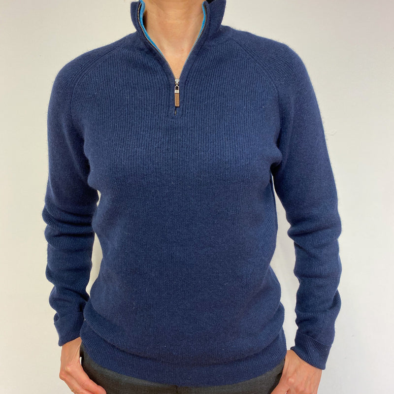 Ribbed  Navy Blue Quarter Zip Jumper Medium