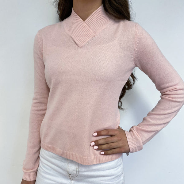 Baby Pink High V Neck Jumper Extra Small