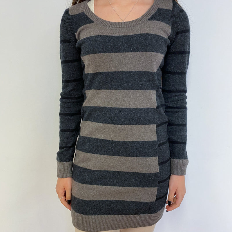 Charcoal Grey and Cedar Brown Stripe Dress Extra Small