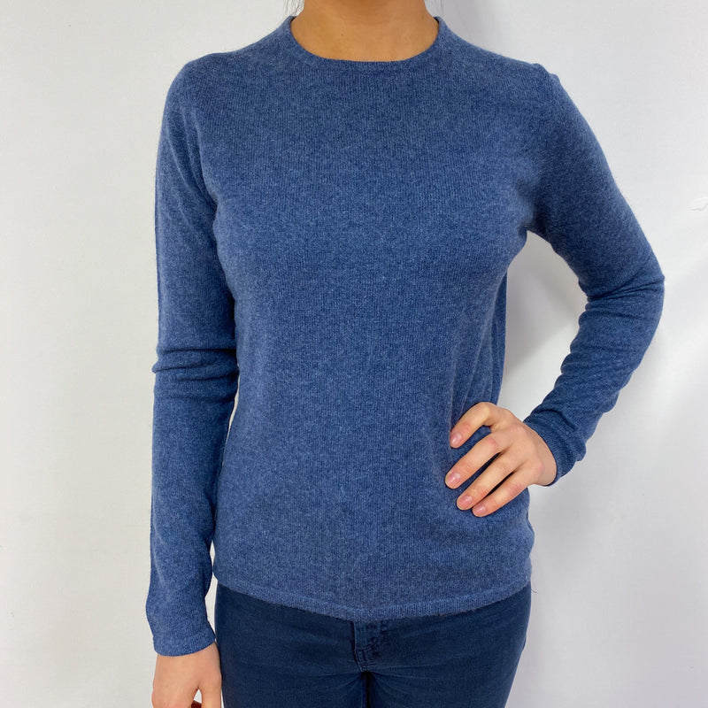 Denim Blue Crew Neck Jumper Small
