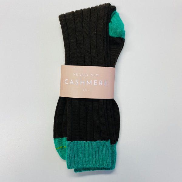 New Brown And Teal Men's Cashmere Socks