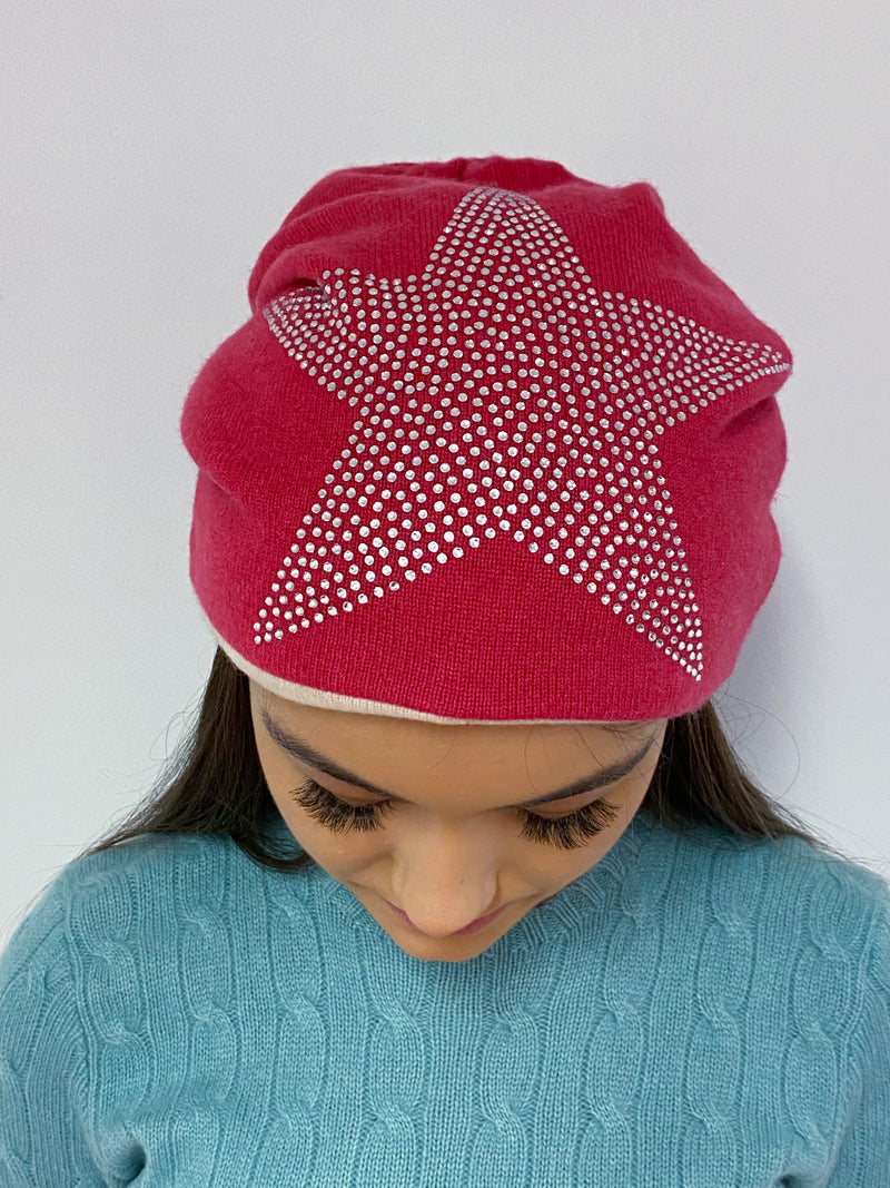 Hot Pink and Oatmeal Diamanté Star Detailed Hat