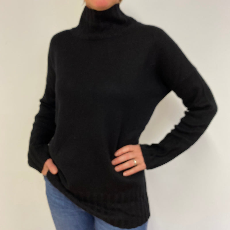 Heavy Knot Black Tunic Style Funnel Neck Jumper Medium