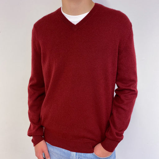 Men's Deep Red V-Neck Jumper Small
