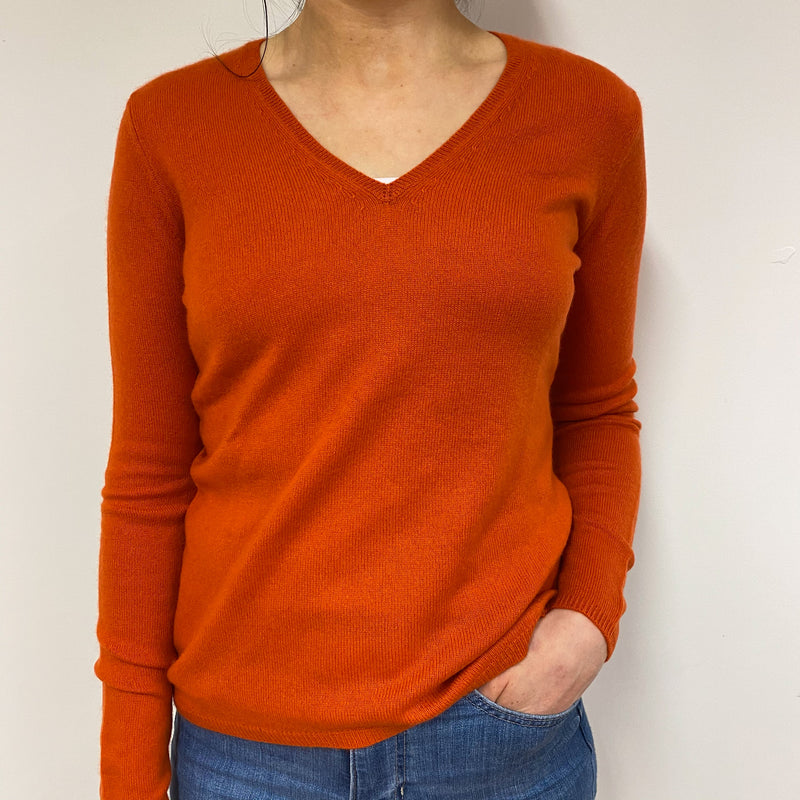 Fire Orange V Neck Jumper Small