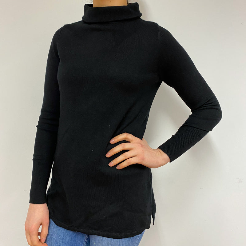 Black Longer Style Polo Neck Jumper Small