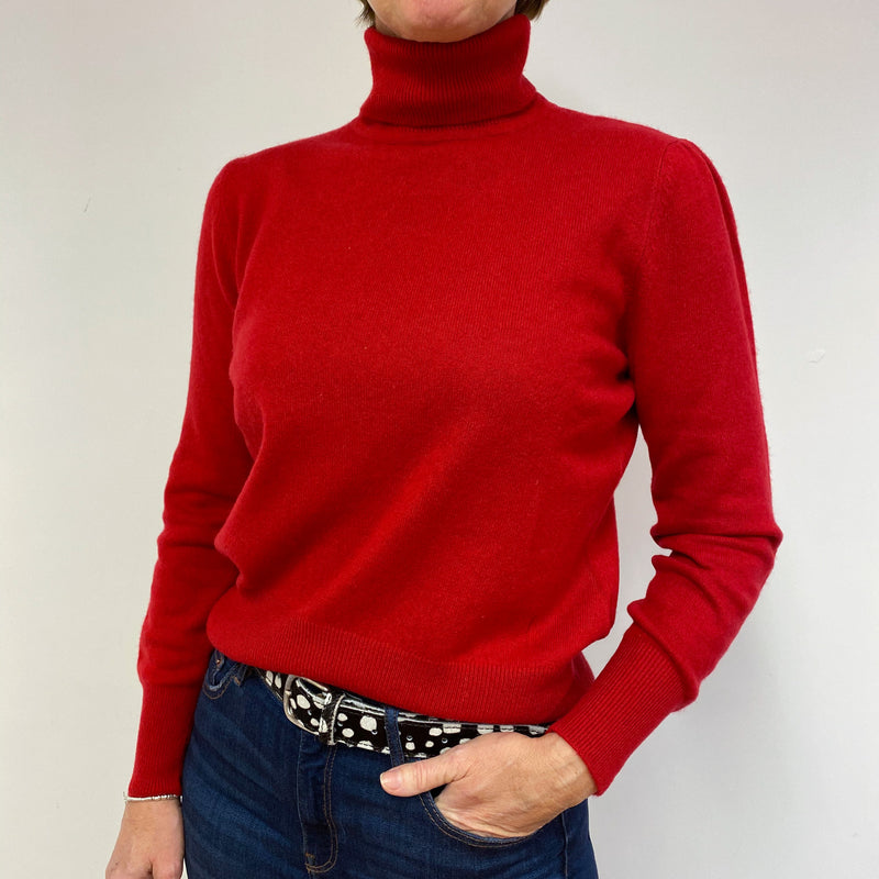 Post Box Red Polo Neck Jumper Medium
