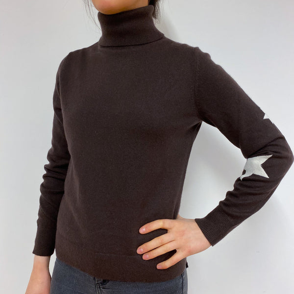 Chocolate Brown Polo Neck Jumper Small