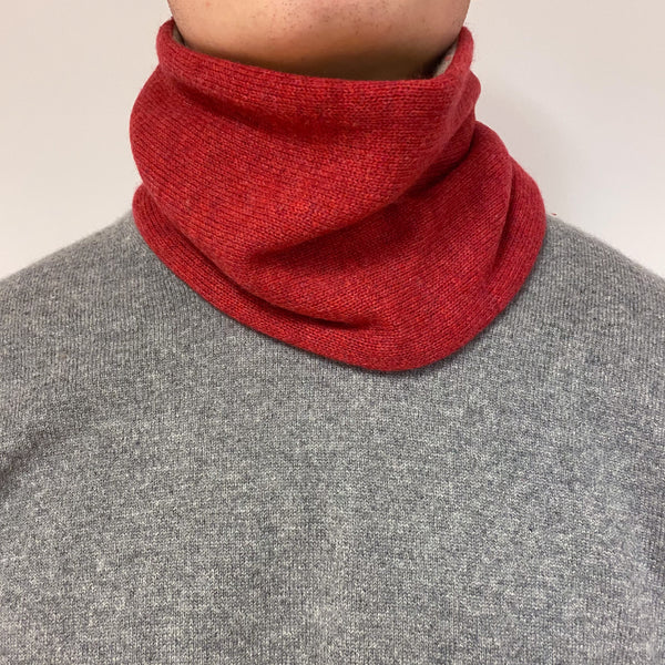 Reversible Camel and Muted Red Neck Warmer Unisex