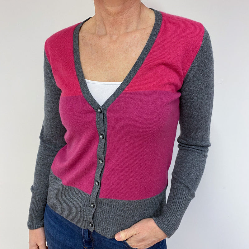 Grey And Pink Striped V Neck Cardigan Medium