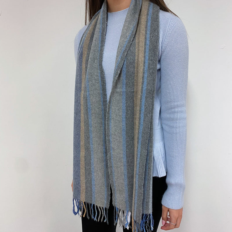 Blue and Neutral Stripe Scarf