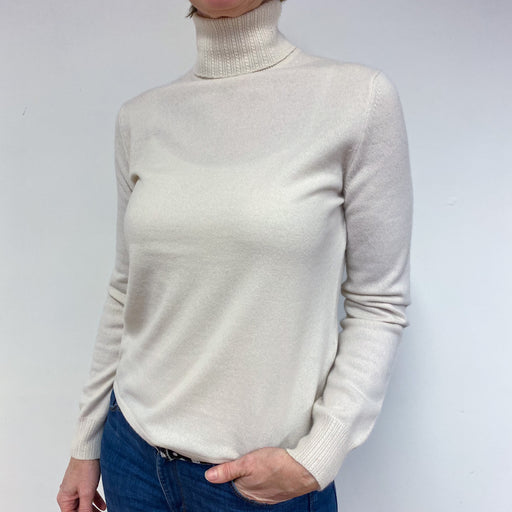 Winter White Polo Neck Jumper Medium