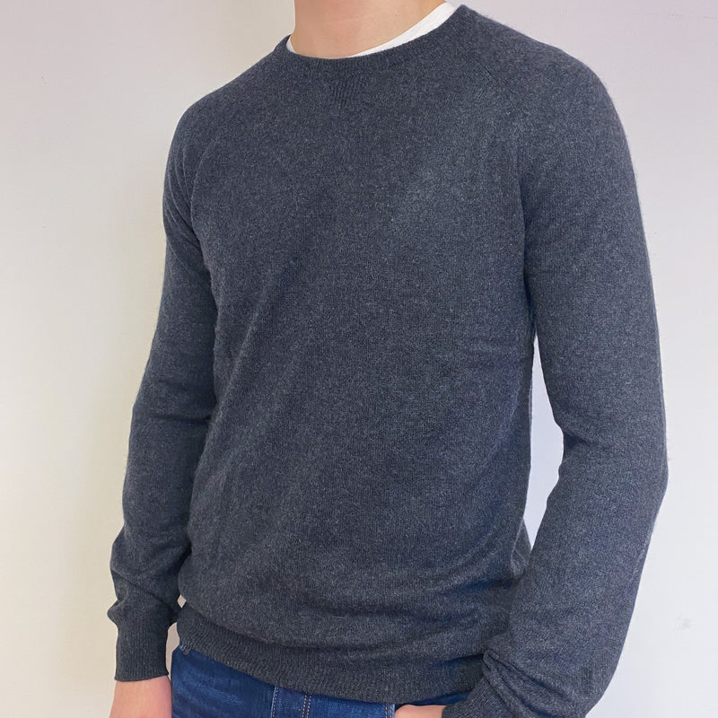Men's Charcoal Grey Crew Neck Jumper Medium