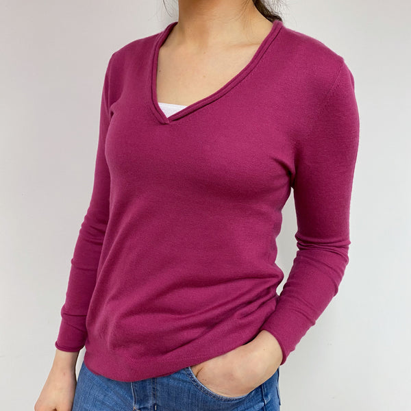 Superfine Raspberry Pink B Neck Jumper Small