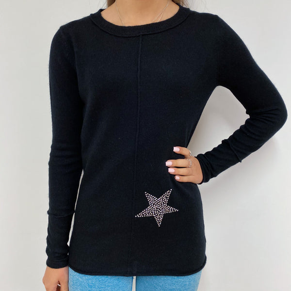 Black Diamanté Crew Neck Jumper