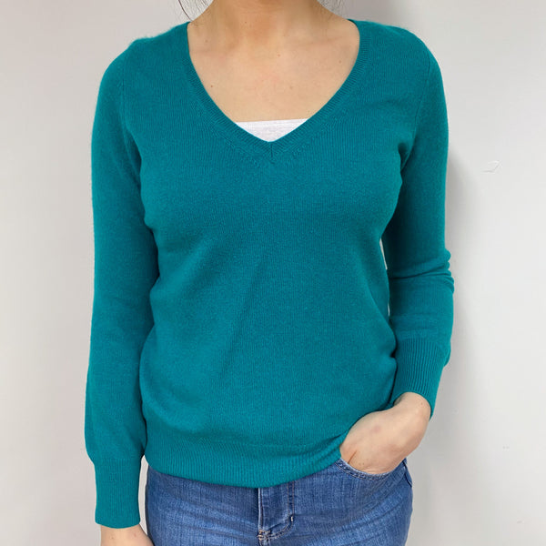Sea Green V Neck Jumper Small
