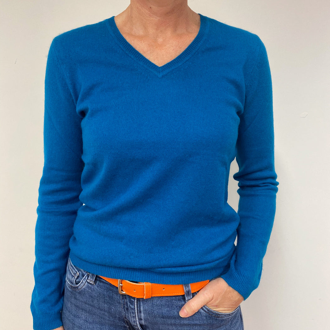 Teal Blue V Neck Jumper Medium