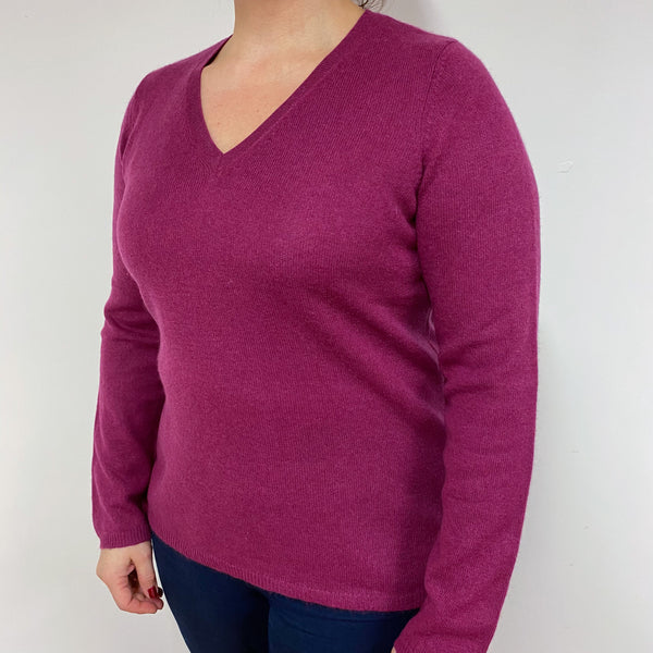 Raspberry V Neck Jumper Large