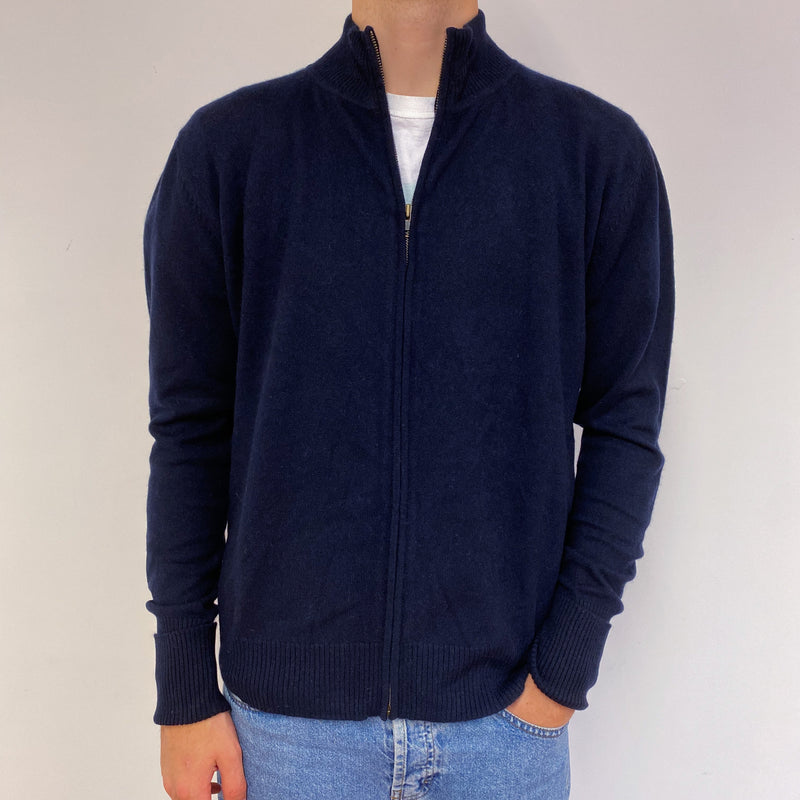 Men's Navy Blue Full Zip Jumper Large