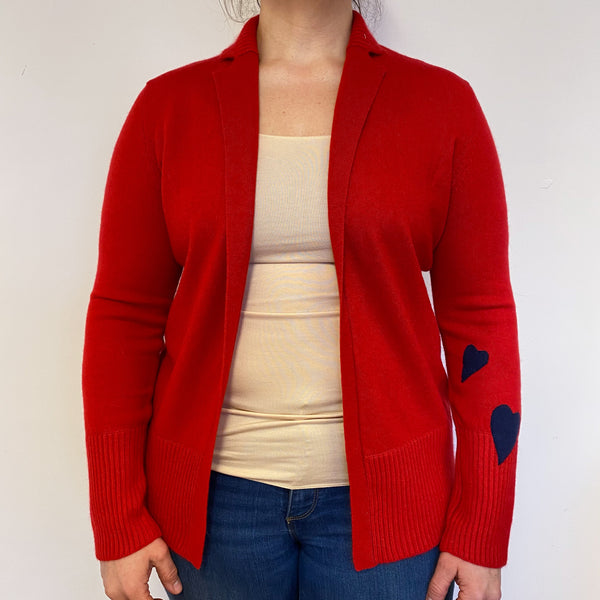 Postbox Red Heart Detailed Edge to Edge Cardigan Large
