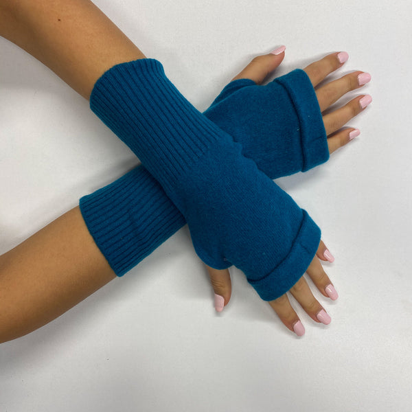 Teal Blue Fingerless Gloves