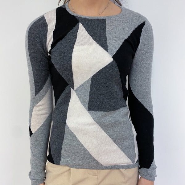 Black and Grey Crew Neck Jumper Extra Small