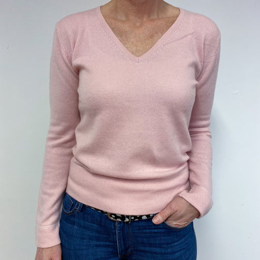 Baby Pink Star Detailed V Neck Jumper Medium