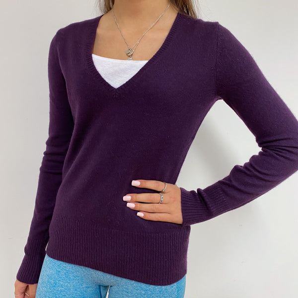 Dark Purple V-Neck Jumper Extra Small