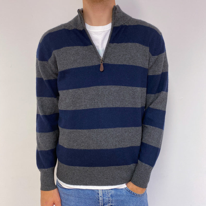 Men's Grey/Navy Striped Quarter Zip Jumper Medium