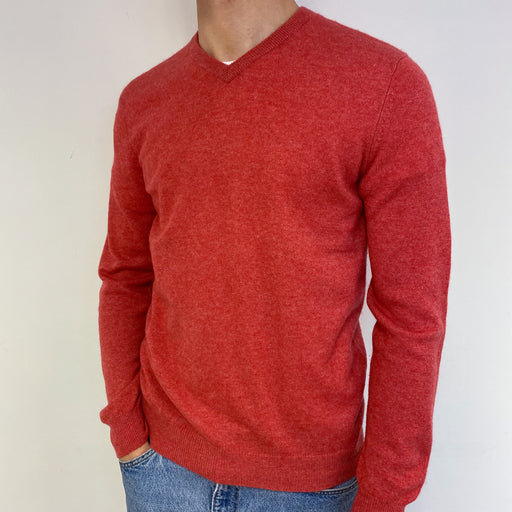 Men's French Rose Red V Neck Jumper Small