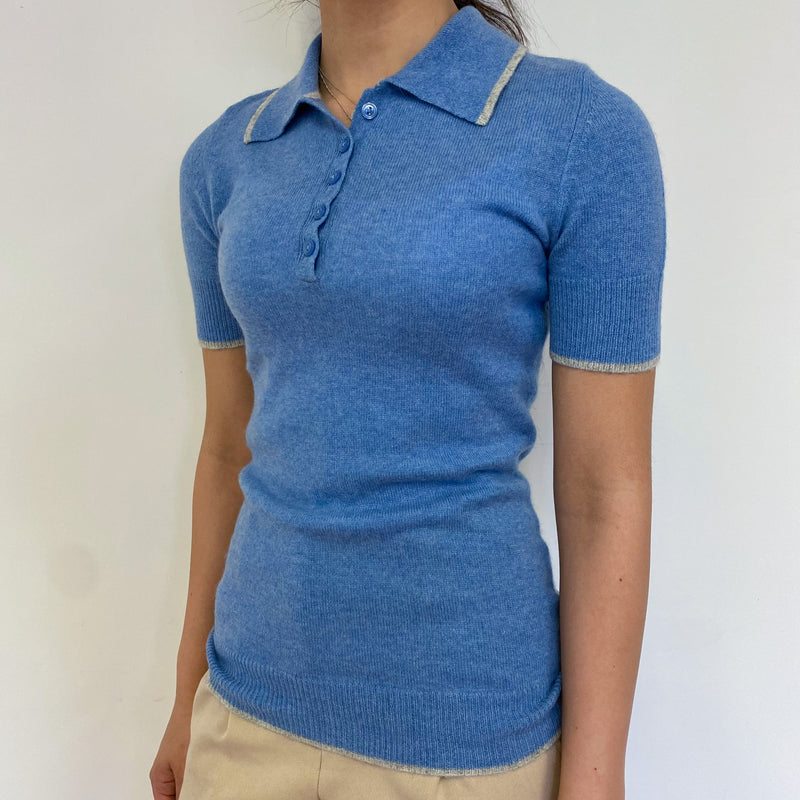 Cornflower Blue Polo Collared Tee Extra Small