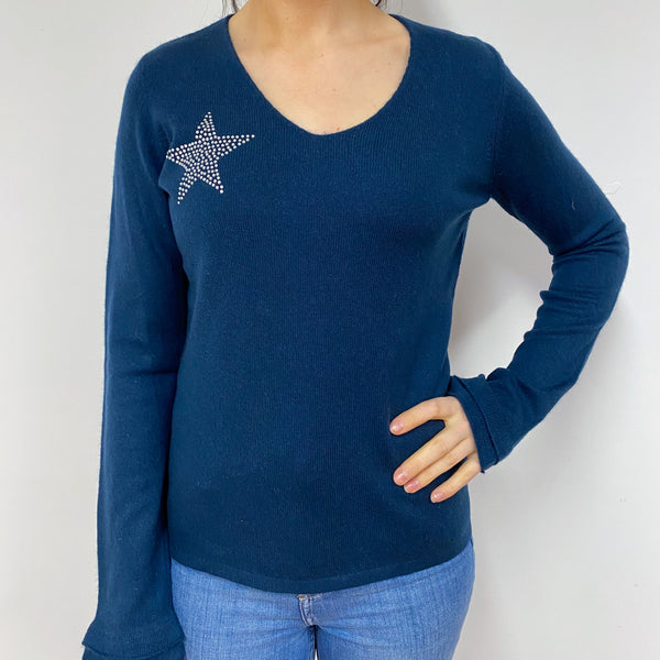 Petrol Blue Sparkly V Neck Jumper Small
