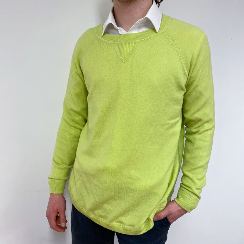 Men's Lime Green Crew Neck Jumper Medium