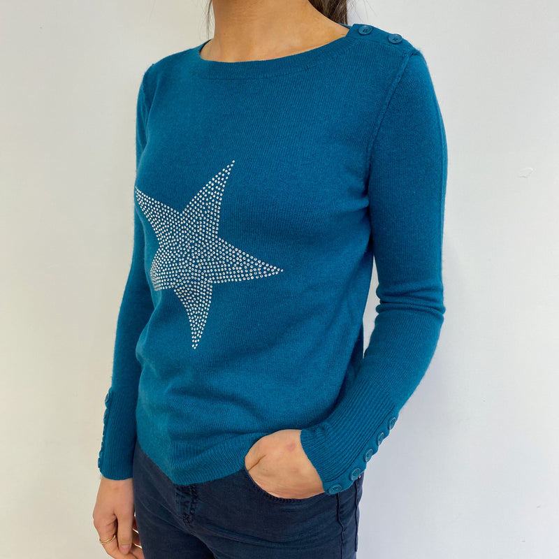 Teal Crew Neck Jumper With a Diamanté Star Small