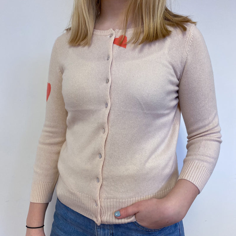 Palest Pink Heart Crew Neck Cardigan Small