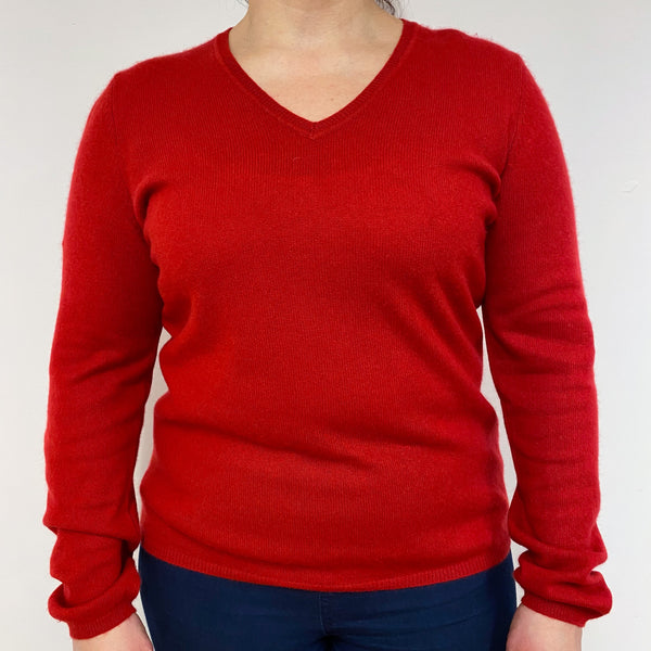 Postbox Red V Neck Jumper Large