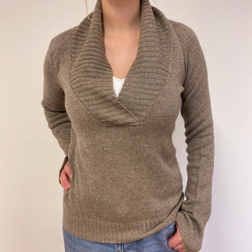Light Taupe Brown V-Neck Jumper Medium