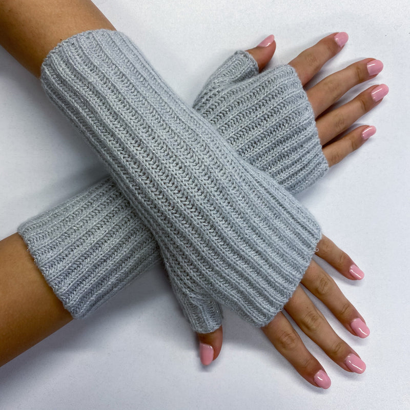 New Frost Grey Sparkling Fingerless Recycled Gloves