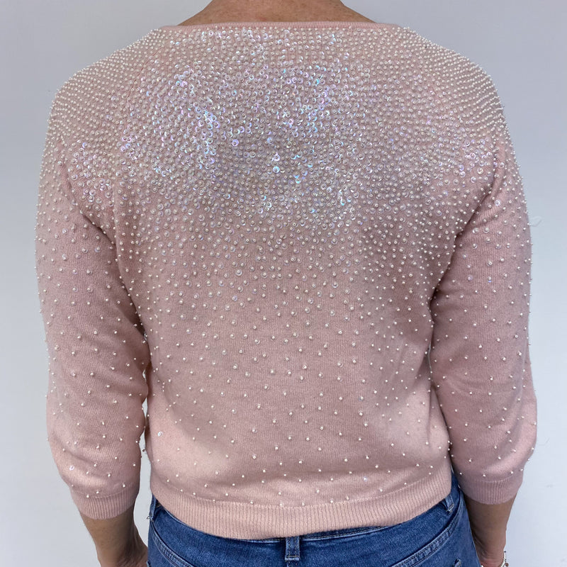 Palest Pink Sparkly Cropped Crew Neck Cardigan Medium