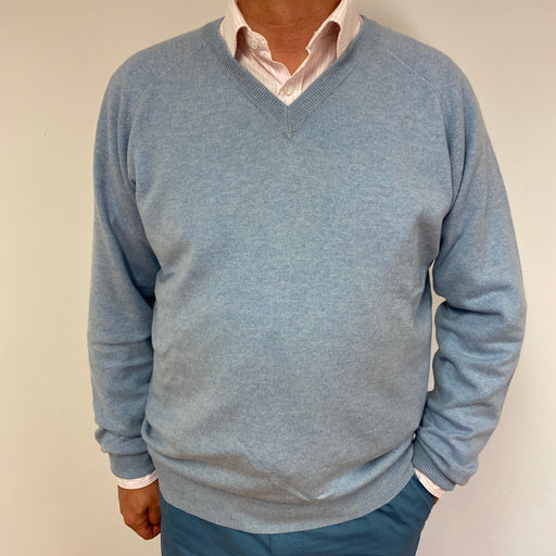 Men's Pale Blue V Neck Jumper XL