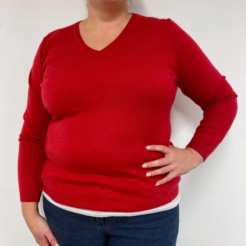 Ruby Red V Neck Jumper Extra Large