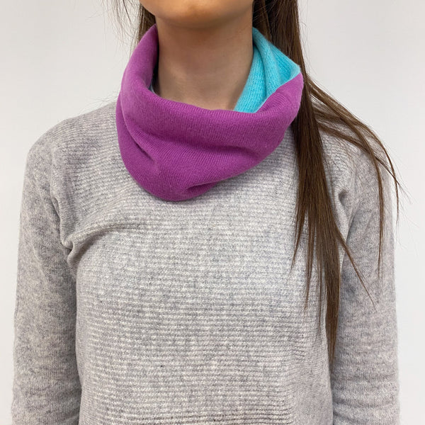 Reversible Crushed Blackberry & Turquoise Neck Warmer