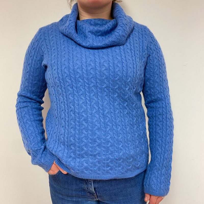 Chunky Cornflower Blue Cable Knit Polo Neck Jumper Large