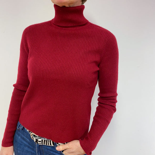 Claret Ribbed Polo Neck Jumper Medium