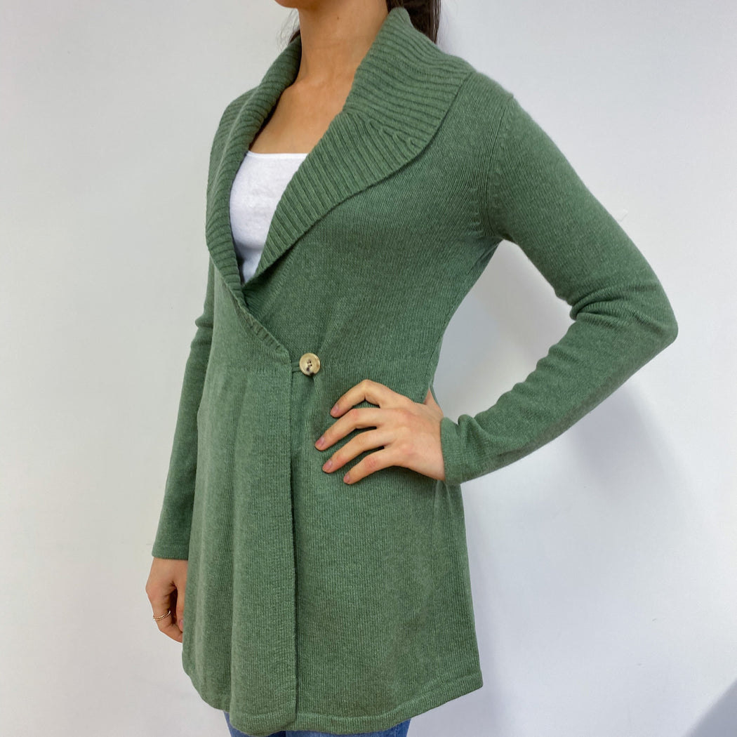 Olive Green Single Buttoned Longline Cardigan Small