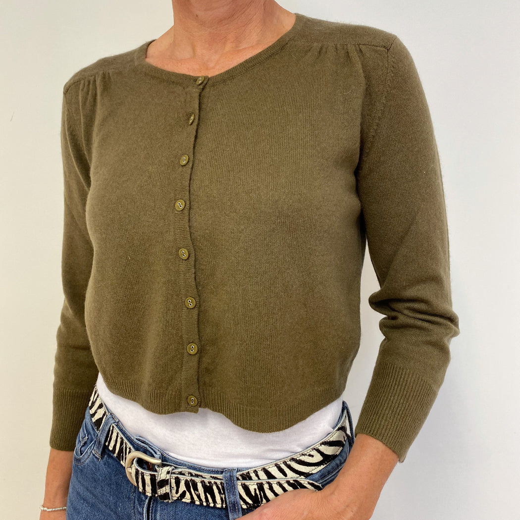 Olive Green Cropped Cardigan Medium