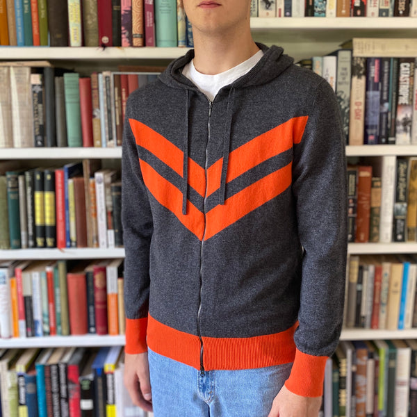 Men's Limited Edition Grey and Orange Sports Zip Top Hoodie Medium