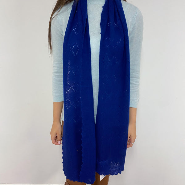 Royal Blue Lace Knit Scarf