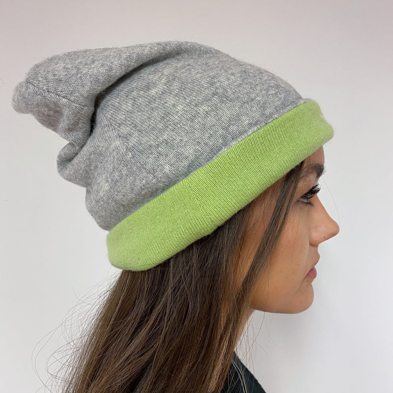 Reversible Pear Green & Grey Hat